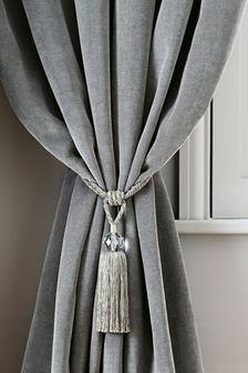 Set Of 2 Silver Beaded Tassel Tie Backs