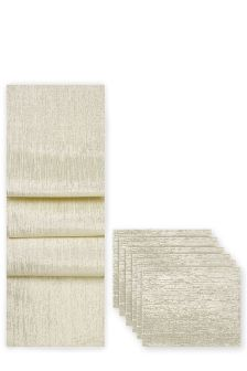 7 Piece Paper Weave Mat And Runner Set