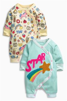 Star Long Sleeve Rompers Two Pack (0mths-2yrs)