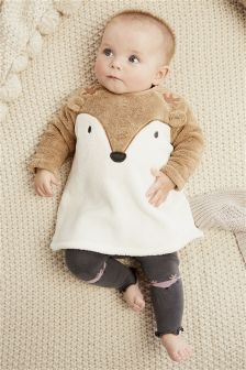 Fleece Character Tunic And Footless Tights Set (0mths-2yrs)
