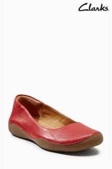 Clarks Red Leather Cushion Plus Comfort Ballerina