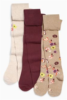 Floral Tights Three Pack (0mths-6yrs)