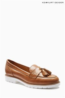 Kurt Geiger Tan Leather Kola Contrast Sole Loafer