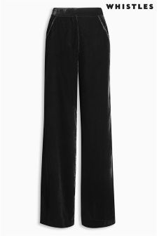 Whistles Black Wide Leg Velvet Trouser