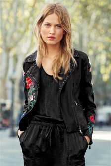 Embroidered PU Jacket