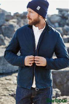 Barbour® Navy Elgin Waxed Harrington Jacket