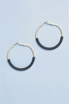 Black Detail Hoop Earrings