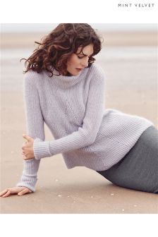 Mint Velvet Lilac Pointelle Swing Fit Boxy Knit