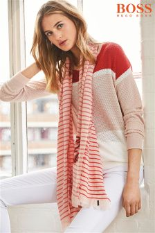 Boss Orange Red/Pink Striped Scarf