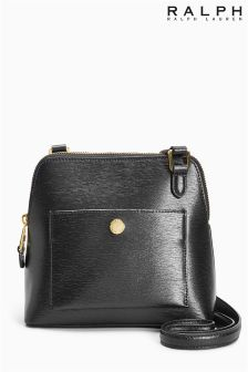 Ralph Lauren Black Newbury Bailey Dome Leather Crossbody Bag
