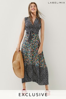 Mix/Isa Arfen Tie Waist Silk Dress