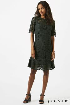 Jigsaw Green Viola Geometric Lace Dress
