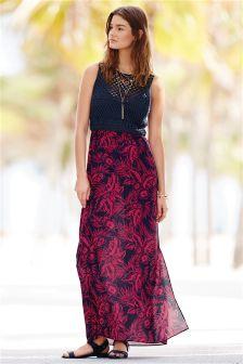 Pink/Navy Crochet Sleeveless Dress