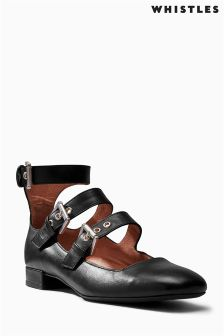 Whistles Black Multi Buckle Square Shoe