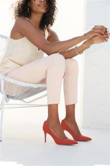 High Waist Cotton Blend Skinny Trousers