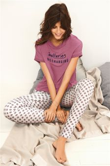 Slogan Slim Leg Pyjamas