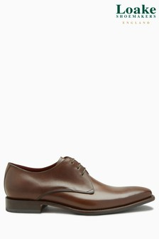 Loake Brown Bressler Plain Derby Shoe