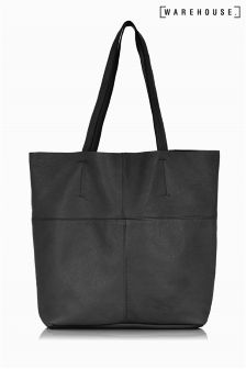 Warehouse Black Leather Shopper Bag