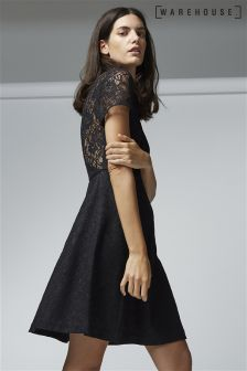 Warehouse Black Bonded Lace Skater Dress