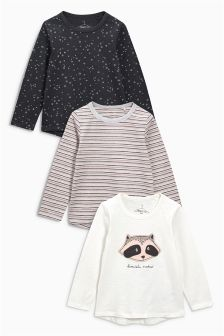Long Sleeve Character T-Shirts Three Pack (3mths-6yrs)