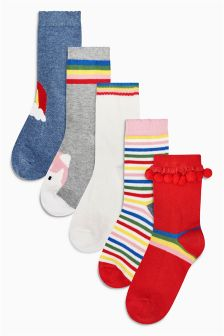 Rainbow Socks Five Pack (Younger Girls)
