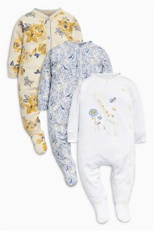 Giraffe Floral Sleepsuits Three Pack (0mths-2yrs)
