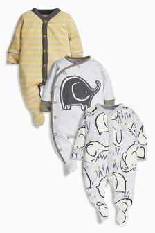 Dreamer Elephant Sleepsuits Three Pack (0mths-2yrs)