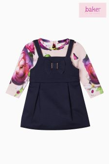 Baker by Ted Baker Blue Pique Pinafore Dress