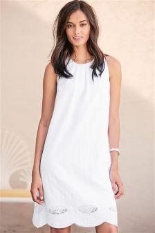 White Linen Blend V Back Broderie Dress