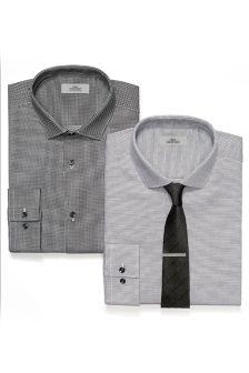 Slim Fit Shirts, Tie And Tie Clip Set