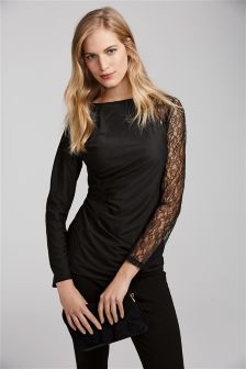 Long Sleeve Lace Sleeve Top
