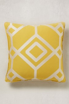 Lattice Geometric Jacquard Cushion