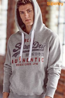 Superdry Grey Faded Script Logo Hoody