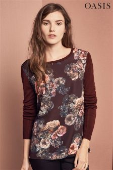 Oasis Pink Gothic Bloom Woven Front Top