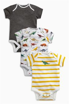 Dino Short Sleeve Bodysuits Three Pack (0mths-2yrs)