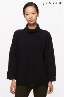 Jigsaw Black Boiled Wool Knit