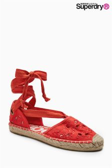 Superdry Urban Red Lola Lace Up Espadrille