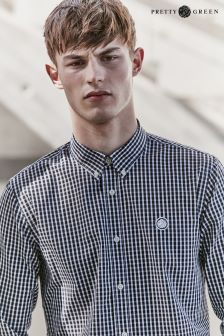 Pretty Green Gingham Long Sleeve Black Shirt