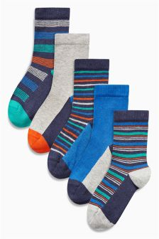 Bright Stripe Socks Five Pack (Older Boys)