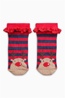 Reindeer Socks One Pack (Younger Girls)