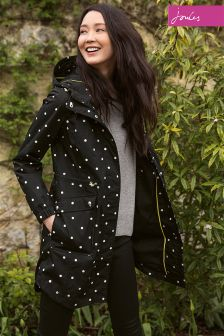 Joules Raina Print Black Spot Waterproof Parka