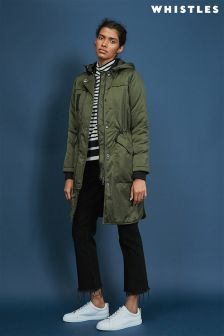 Whistles Khaki Jensen Collarless Parka
