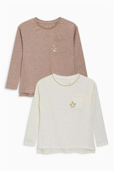 Sequin Star Pocket Tops Two Pack (3-16yrs)