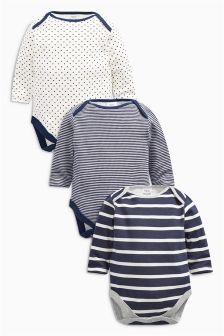 Stripe Long Sleeve Bodysuits Three Pack (0mths-2yrs)
