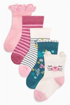 Floral Socks 5 Pack (Younger Girls)