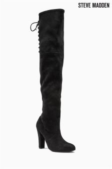 Steve Madden Gleemer Black Suede Look Over The Knee Boot