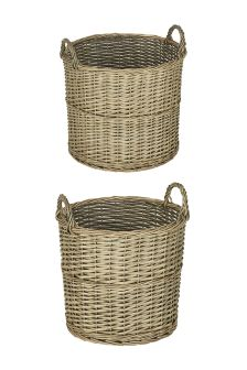 Set of 2 Natural Willow Baskets