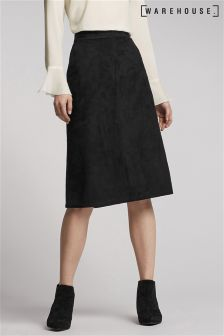 Warehouse Black Suedette Midi Skirt