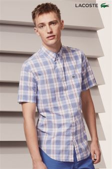 Lacoste® Blue Check Short Sleeve Shirt