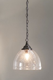 Bergen Single Pewter Finish Pendant With Bubble Glass